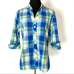Foxcroft Tapers Fit Plaid Shirt Size 8